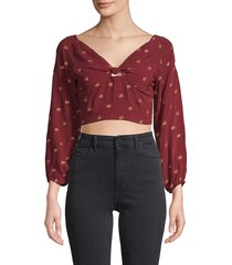 raga women's leaf-print knotted cropped top - wine - size s