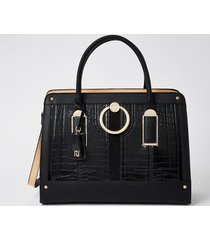 river island womens black patent ring front tote bag