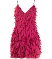 alberta ferretti micro flounce mini dress - pink