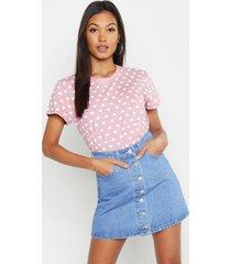 love heart repeat print t-shirt, pink