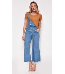 macacão jeans zait pantacourt mona azul marinho