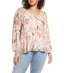 plus size women's single thread pleated v-neck floral blouse