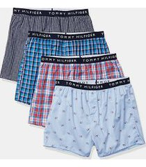 tommy hilfiger men's cotton classics boxer 4pk red/light blue/bright blue/navy - l