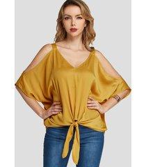 yoins blusa con diseño de lazo con hombros descubiertos y mangas de murciélago amarillo