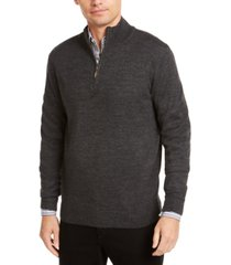 club room men's quarter zip merino wool blend sweater, created for macy's