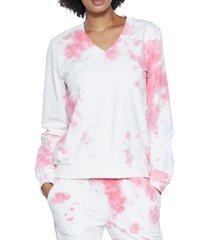 women's wash lab denim arctic blast tie dye sweatshirt, size small - pink