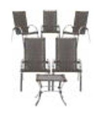 jogo cadeiras 5un e mesa de centro garden para edicula jardim area varanda descanso - pedra ferro