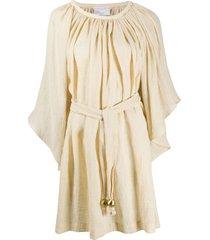 lisa marie fernandez ruched tie-waist mini dress - neutrals