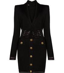balmain fine-knit bodycon dress - black