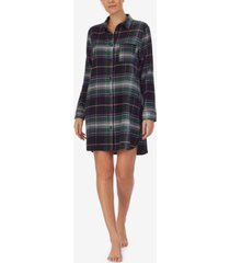 dkny long sleeve plaid sleepshirt nightgown