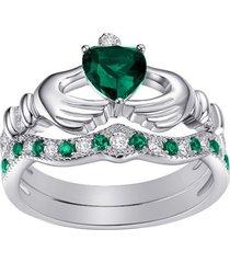 heart shape emerald & sim diamond white gold fn. bridal ring set claddagh ring