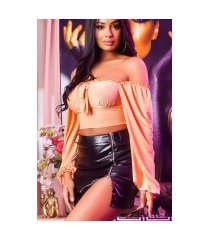sexy crop top latina look abrikoos-kleurig