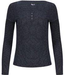 camiseta mujer textura con pechera color azul, talla 10