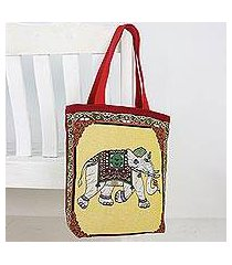 cotton shoulder bag, 'summer elephant' (thailand)