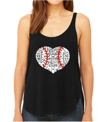 la pop art women's premium word art flowy tank top- baseball mom