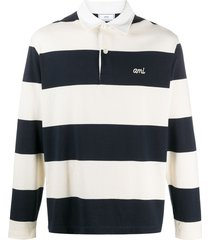 ami paris horizontal-stripe polo shirt - blue