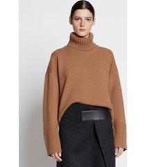proenza schouler doubleface eco cashmere oversized turtleneck sweater saddle/brown m