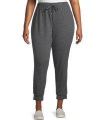 max studio women's plus french terry jogger pants - grey - size 1x (14-16)