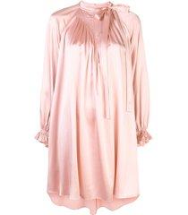 adam lippes bow neck silk mini dress - pink