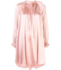 adam lippes bow neck silk mini dress - pink