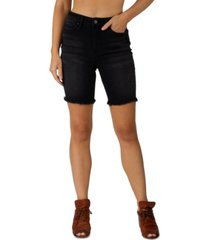 indigo rein juniors' frayed bermuda denim shorts