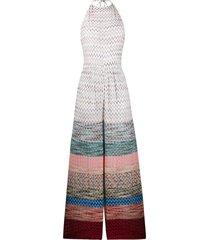 missoni mare crocheted geometric-print jumpsuit - white