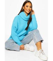 oversized roll neck rib knit sweater, aqua