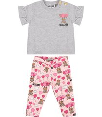 moschino grey and pink babygirl suit with teddy bears and balloons
