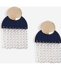 *shape and pearl drop earrings - navy blue