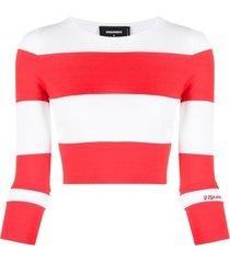 dsquared2 horizontal-stripe long-sleeve top - white