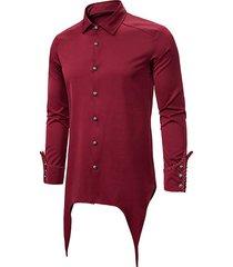 button up asymmetrical longline gothic shirt