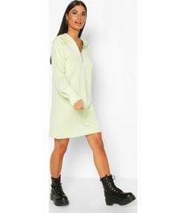 petite zip up hooded sweat dress, mint