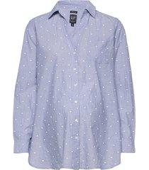 maternity poplin shirt långärmad skjorta blå gap