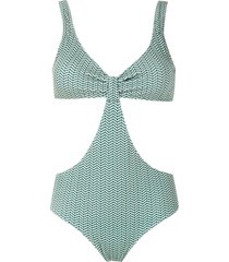 track & field cut-out swimsuit - green