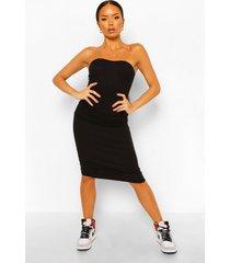 geribbelde strapless midaxi jurk met hartvormige hals, black