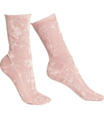 blush pink crushed velvet socks