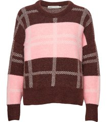 ivanaiw check pullover stickad tröja rosa inwear