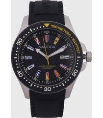 reloj negro-plateado-multicolor nautica