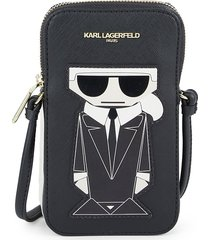 karl lagerfeld women's maybelle karl leather phone case - black gold