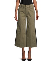 frame denim women's tuxedo-stripe cropped wide-leg jeans - army green - size 23 (00)