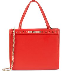 love moschino women's studded faux leather crossbody bag - red