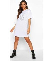 diamante overlay printed t-shirt dress, white