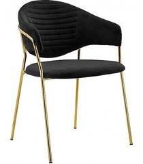 krzesło metalowe welurowe cindy czarne