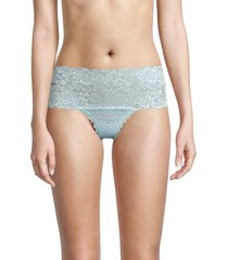 ava & aiden women's laced wide thong - soft sky - size m