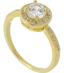 anel redondo com ponto de luz mini zircônias cravadas 3rs semijoias dourado