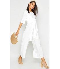 linen twist tie culotte jumpsuit, white
