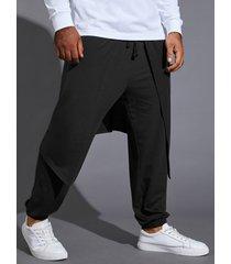 hombre casual con cordón de bolsillo de doble capa pantalones