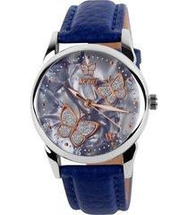 reloj de cuarzo de señora de cara de mariposa-azul