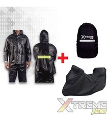 impermeable + pijama para moto con maletero + forro maleta