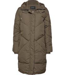 para padded coat gevoerde lange jas groen soft rebels